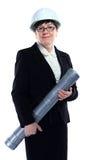 Mogna affärskvinnan som hållande halva liter för blått planerar Fotografering för Bildbyråer