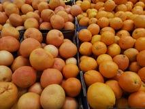 Mogna apelsiner på en supermarket Arkivfoto