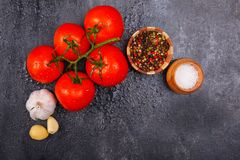 Mogna aptitretande ljusa tomater med pepparkorn, vitlök och saltar på en svart bakgrund, där är rum för text Beskåda Arkivbild