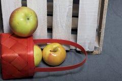 Mogna aromatiska äpplen från en vide- korg på en grå torkduk Närliggande är en träask som knackas ut ur brädena arkivbilder