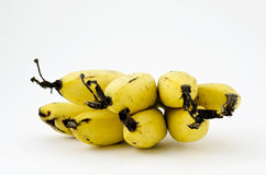 Mogna bananer på vit Arkivbild