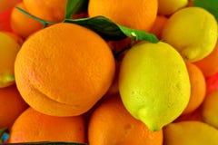 Mogna citroner och apelsiner, sund fruktsaft med vitaminer arkivbild