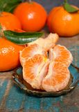 Mogna färgrika tropiska citrusfrukter, mandariner eller clementines c Fotografering för Bildbyråer