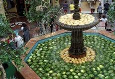 Mogna frukter av vattenmelon- och melonlögnen i springbrunnen av det shoppa komplexet fotografering för bildbyråer