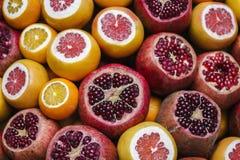 Mogna granatäpplen och grapefrukter Fotografering för Bildbyråer