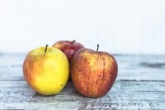 Mogna jonagoldäpplen på tappningträtabellen Arkivbilder