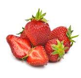 Mogna jordgubbar med sidor Arkivbild