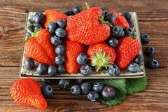 Mogna jordgubbar och blåbär Fotografering för Bildbyråer