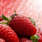 Mogna jordgubbar stänger sig upp med jordgubbetextur i bakgrundsfyrkantsammansättningen Arkivbild