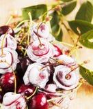 Mogna körsbär, iskuber på trätabellen, selektiv fokus Fotografering för Bildbyråer