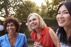 Mogna kvinnliga vänner som tillsammans umgås i trädgård royaltyfri fotografi