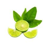 Mogna limefrukter med det gröna bladet bakgrund isolerad white Arkivbilder