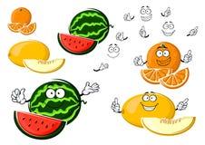 Mogna melon-, apelsin- och vattenmelonfrukter Arkivbild