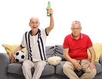 Mogna män som håller ögonen på fotboll Royaltyfria Foton