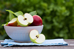 Mogna nya äpplen i en bunke Arkivbild