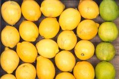 Mogna organiska limefrukter och citroner Arkivfoton