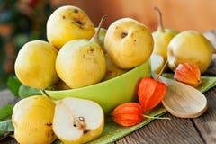 Mogna päron i grön bunke Royaltyfri Fotografi