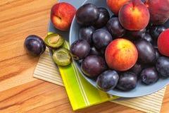 Mogna plommoner och persikor Fotografering för Bildbyråer