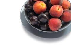 Mogna plommoner och persikor Arkivbild