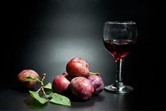 Mogna plommoner och saftig skottnärbild på en mörk bakgrund och ett exponeringsglas av vin arkivbild