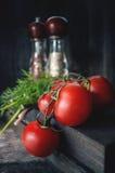 Mogna röda tomater på en filial som ligger på en träbakgrund i lantlig stil, apparater för kryddor i det ljusa ljuset av Arkivbilder
