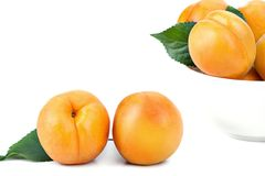 Mogna saftiga gula aprikors med sidor på en vit tabell Fotografering för Bildbyråer