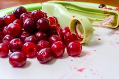 Mogna saftiga röda körsbär gjorde full av hål arkivfoton