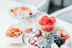 mogna skivade vattenmelon- och melondruvajordgubbar royaltyfria foton