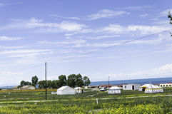 Mogolian yurts και χωριά κοντά στη λίμνη Στοκ Φωτογραφίες