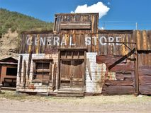 Historic Town of Mogollon, New Mexico. Mogollon is a former mining town located in the Mogollon Mountains in Catron County, New Mexico. It was founded in the royalty free stock photography