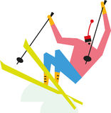 Mogul skier. Alpine skier with brightly colored clothing and equipment crashes through the moguls on a ski slope Stock Photography