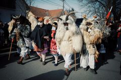 Mohacs, Baranya / Hungary - FEB 26 2017 : traditional participants called buso of the busojaras event roaming the streets of their stock photo
