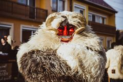 MOHACS, HUNGARY - FEBRUARY 11, 2018: Unidentified people in mask participants at the Mohacsi Busojaras, it is a carnival for stock photos
