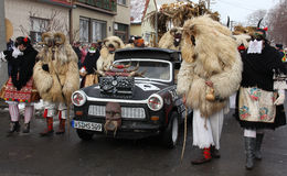 Mohacsi Busojaras狂欢节在匈牙利, 2013年2月 免版税库存照片