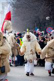 Mohacsi Busojaras carnival. MOHACS, HUNGARY - MARCH 6: Unidentified people in mask participants at the Mohacsi Busojaras, it is a carnival for spring greetings) Stock Images