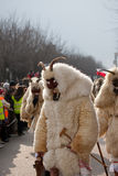 Mohacsi Busojaras carnival. MOHACS, HUNGARY - MARCH 6: Unidentified people in mask participants at the Mohacsi Busojaras, it is a carnival for spring greetings) Royalty Free Stock Images