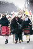 Mohacsi Busojaras carnival. MOHACS, HUNGARY - MARCH 6: Unidentified people in mask participants at the Mohacsi Busojaras, it is a carnival for spring greetings) Royalty Free Stock Photography