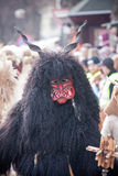 Mohacsi Busojaras carnival. MOHACS, HUNGARY - MARCH 6: Unidentified people in mask participants at the Mohacsi Busojaras, it is a carnival for spring greetings) Stock Photography