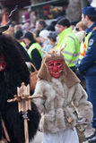 Mohacsi Busojaras carnival. MOHACS, HUNGARY - MARCH 6: Unidentified people in mask participants at the Mohacsi Busojaras, it is a carnival for spring greetings) Royalty Free Stock Photo