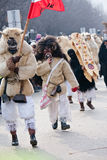 Mohacsi Busojaras carnival. MOHACS, HUNGARY - MARCH 6: Unidentified people in mask participants at the Mohacsi Busojaras, it is a carnival for spring greetings) Stock Photo