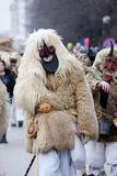 Mohacsi Busojaras carnival. MOHACS, HUNGARY - MARCH 6: Unidentified people in mask participants at the Mohacsi Busojaras, it is a carnival for spring greetings) Royalty Free Stock Photos