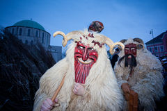 Mohacsi Busojaras Carnival. MOHACS, HUNGARY - FEBRUARY 12: Unidentified people in mask participants at the Mohacsi Busojaras, it is a carnival for spring Stock Photography