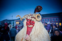Mohacsi Busojaras Carnival. MOHACS, HUNGARY - FEBRUARY 12: Unidentified people in mask participants at the Mohacsi Busojaras, it is a carnival for spring Stock Photo