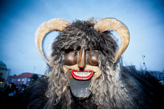 Mohacsi Busojaras Carnival. MOHACS, HUNGARY - FEBRUARY 12: Unidentified people in mask participants at the Mohacsi Busojaras, it is a carnival for spring Royalty Free Stock Image