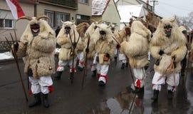 Mohacsi Busojaras Carnival in Hungary, February 2013. MOHACS / HUNGARY - FEBRUARY 10: Unidentified people, the participants of the six-day long Mohacsi Busojaras Royalty Free Stock Photo