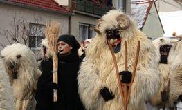 Mohacsi Busojaras Carnival in Hungary, February 2013. MOHACS / HUNGARY - FEBRUARY 10: Unidentified people, the participants of the six-day long Mohacsi Busojaras Stock Photography