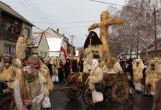 Mohacsi Busojaras Carnival in Hungary, February 2013. MOHACS / HUNGARY - FEBRUARY 10: Unidentified people, the participants of the six-day long Mohacsi Busojaras Stock Photos