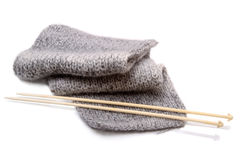 Mohair scarf and knitting needle Stock Photography