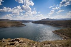 The Mohale Dam Lake in Lesotho. The main source of income in Lesotho are their water ressources Stock Photos