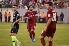 Mohamed Salah #11 of Liverpool FC in action against Manchester City during 2018 International Champions Cup game. EAST RUTHERFORD, NJ - JULY 25, 2018: Mohamed stock image